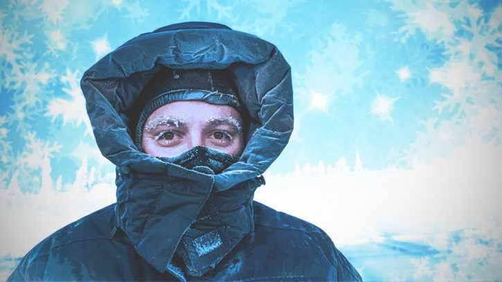 мужчина зимой
