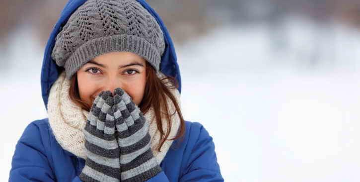 женщина в мороз